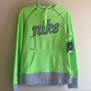 Nike fluorescent green grey therma fit hoodie nwt
